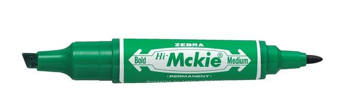 Alkoholos marker, 2,0/4,0 mm, kúpos/vágott, kétvégű, ZEBRA Hi-Mckie, zöld