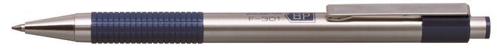 Golyóstoll, 0,24 mm, nyomógombos, rozsdamentes acél, kék tolltest, ZEBRA F-301, kék