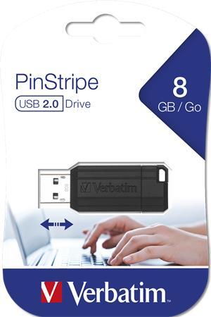 Pendrive, 8GB, USB 2.0, 10/4MB/sec, VERBATIM PinStripe, fekete