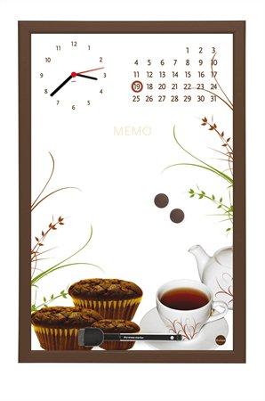 Üzenőtábla órával és naptárral | 30x45 cm | barna keret