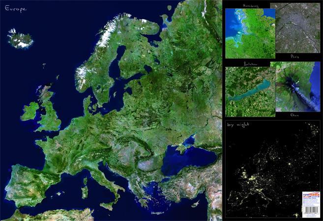 Könyökalátét, kétoldalas, STIEFEL  Európa űrtérkép