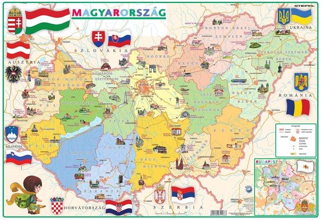 Könyökalátét, kétoldalas, STIEFEL, Gyerek Magyarország közigazgatása/domborzata