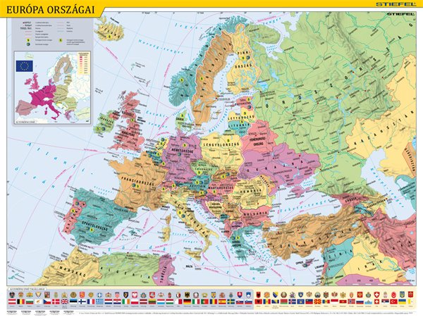 Könyökalátét, kétoldalas, STIEFEL, Európa országai/Európa gyerektérkép
