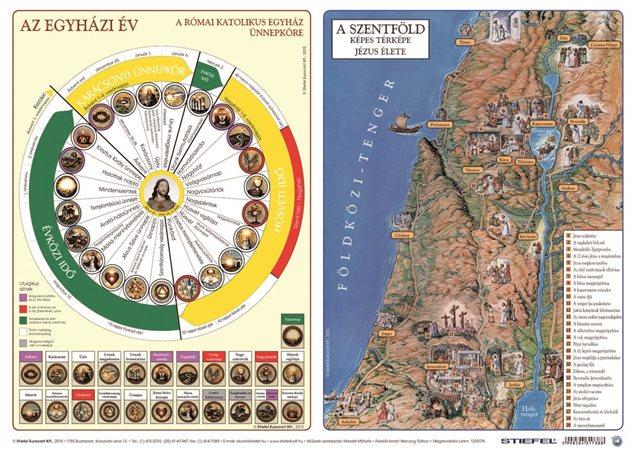 Könyökalátét, kétoldalas, A3, STIEFEL Katolikus egyházi év és Újszövetség térképe / Ószövetség