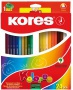 Színes ceruza készlet, háromszögletű, KORES 'Triangular', 24 különböző szín