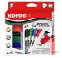 Tábla- és flipchart marker készlet mágneses táblatörlő szivaccsal, 1-3 mm, kúpos KORES, 4 különböző szín