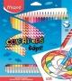 Színes ceruza készlet, háromszögletű, radírozható, MAPED 'Color`Peps Oops', 24 különböző szín