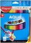 Akvarell ceruza készlet, háromszögletű, ecsettel, MAPED 'Color Peps', 18 különböző szín