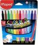 Filctoll készlet, 1-3,6 mm, kimosható, MAPED 'Color`Peps', 12 különböző szín