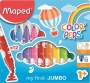 Filctoll készlet, 1- 5 mm, kimosható, vastag, MAPED 'Color`Peps Jumbo', 12 különböző szín