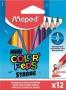 Színes ceruza készlet, háromszögletű, MAPED 'Mini Color`Peps Strong', 12 különböző szín