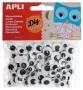 Öntapadó mozgó szem, kör, APLI 'Creative', fekete-fehér