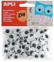 Öntapadó mozgó szem, ovális, APLI 'Creative', fekete-fehér