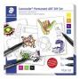 Kreatív alkoholos marker készlet, STAEDTLER 'Lumocolor Permanent ART', matricák