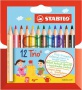 Színes ceruza készlet, háromszögletű, vastag, rövid, STABILO 'Trio', 12 különböző szín