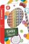 Színes ceruza készlet, háromszögletű, jobbkezes, STABILO 'EasyColours', 12 különböző szín