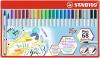 Ecsetirón készlet, fém doboz, STABILO 'Pen 68 brush', 19 különböző szín