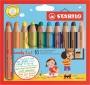 Színes ceruza készlet, kerek, vastag, STABILO 'Woody 3 in 1', 10 különböző szín