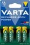 Tölthető elem, AA ceruza, 4x2600 mAh, előtöltött, VARTA 'Power'